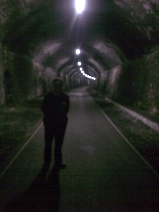 The author inside Litton tunnel.
