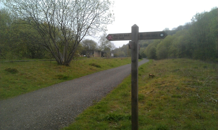 The bus stop at Millers Dale