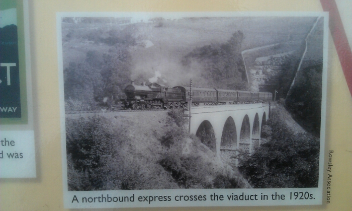 A train crosses  the Monsal viaduct in the 1920's
